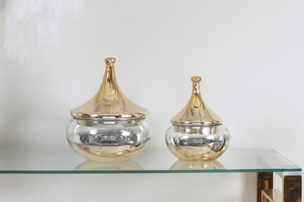 Medium Glass Vase With Gold Fluted Lid