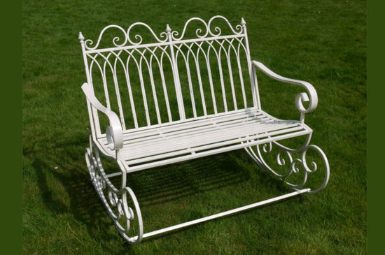 Garden Rocking 2 Seater Bench - White Metal