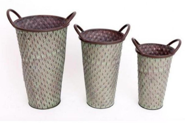 Set of 3 Potting Shed Tall Green Metal Planters
