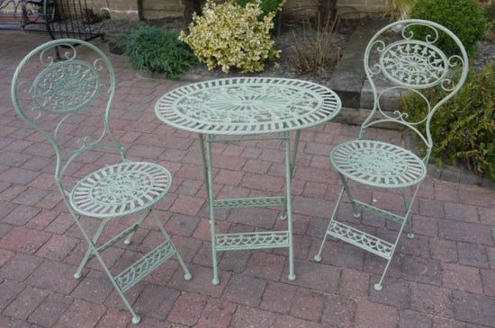 Vintage Style Oval Garden Table & 2x Chair Set (2 Colours Available)