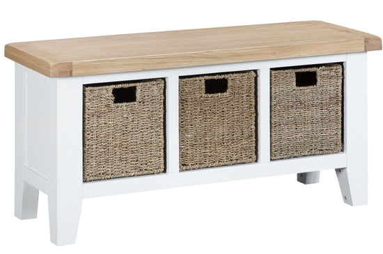 Trentham Collection - Hall Bench - Oak - Available in White or Grey
