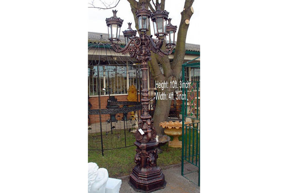 10ft Tall Vintage Style Lamp Post - Rustic Black