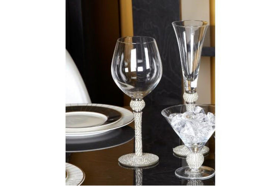 Milano Red Wine Glass - Clear / Silver / Chrome