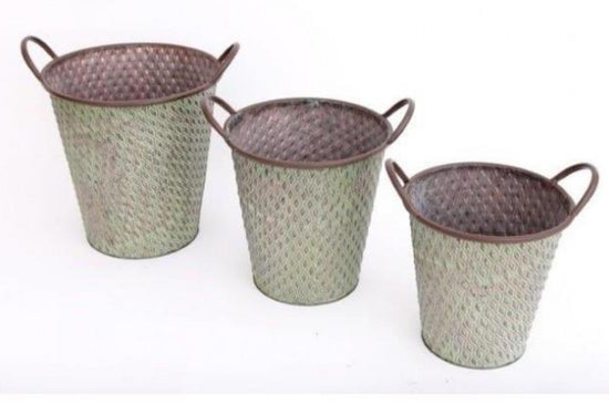 Set of 3 Potting Shed Round Green Metal Planters