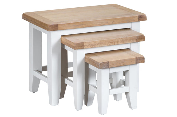 Trentham Collection - Nest of 3 Tables - Oak - Available in White or Grey