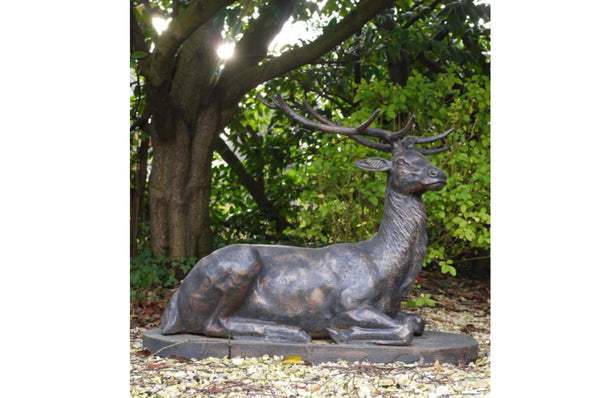 Cast Iron Laying Stag Garden Ornament