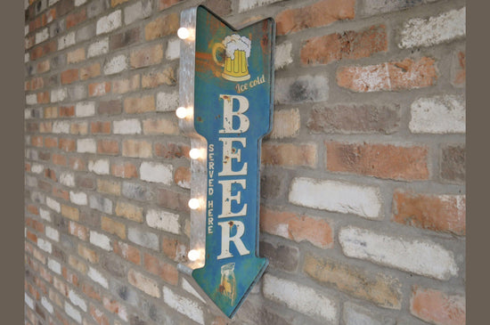 """Ice Cold Beer Served Here""  LED Sign - 3D"