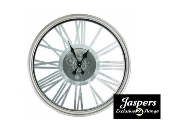 Round Silver Gears Wall Clock