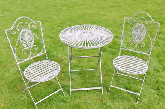 SET - Metal Round Garden Table & 2x Chairs