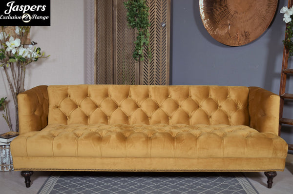 Mustard Velvet Button Sofa