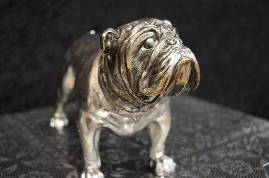 Standing Bulldog Ornament - Silver / Chrome