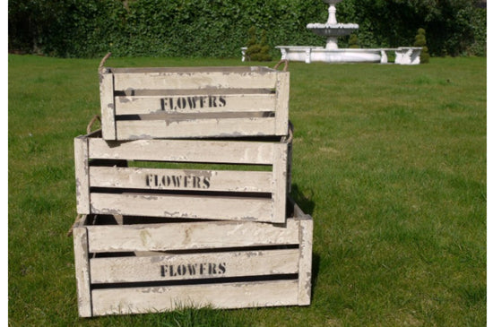 "Set of 3 ""Flowers"" Storage Crates"