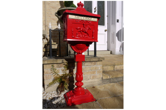 Aluminium Vintage Style Post Box - Red