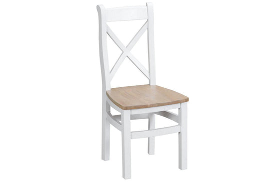 Trentham Collection - Cross Back Dining Chair - Oak - Available in White or Grey