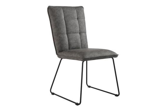Panel Back Dining Chair With Angular Legs - Grey