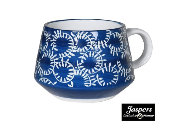 Set of 4 Painted Blue & White Mugs - Patterned
