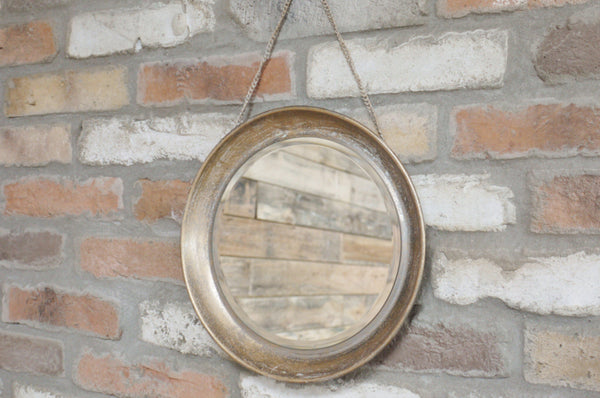 Round Rustic Mirror on Hanging Chain - Bronze