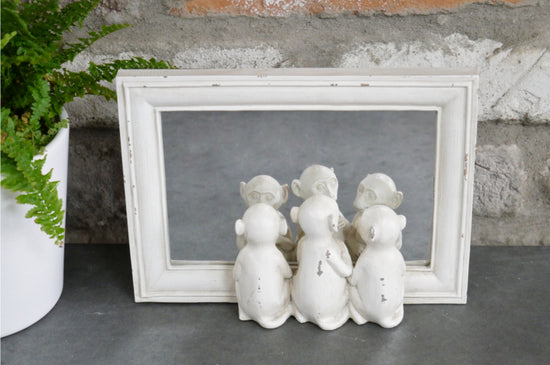 Three Monkeys Mirror - White