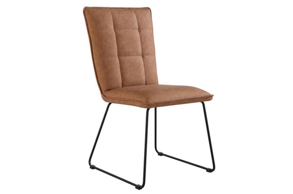 Panel Back Dining Chair With Angular Legs - Tan