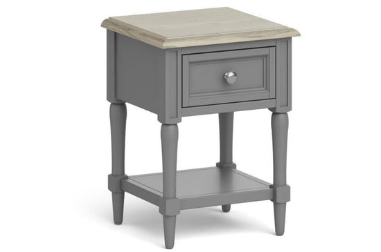 Morocco Lamp Table With Drawer - Grey