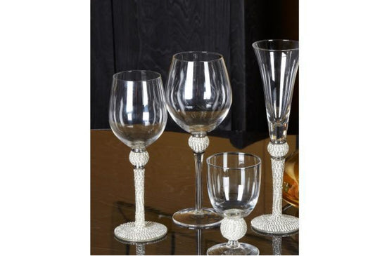 Milano Red Wine Glass With Diamante Ball