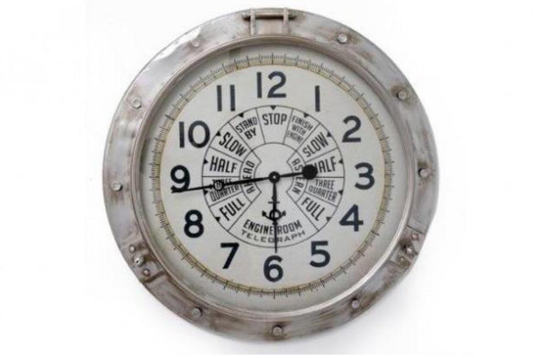 Engine Style Wall Clock - Silver