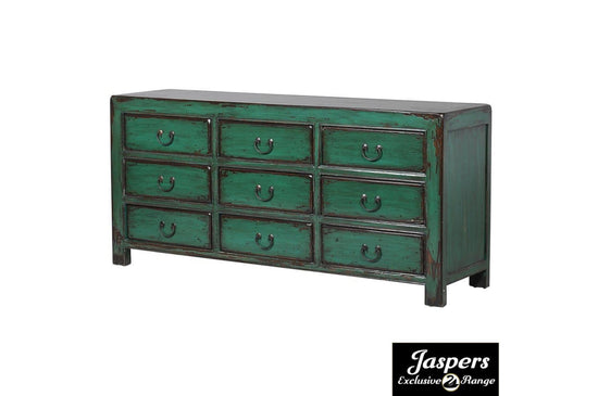 Oriental Turquoise 9 Drawer Wide Chest - Green