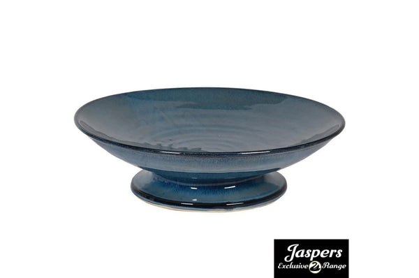 Ceramic Footed Blue Dish