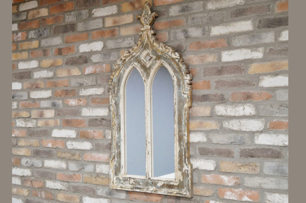Vintage Style Wall Mirror - Rustic White