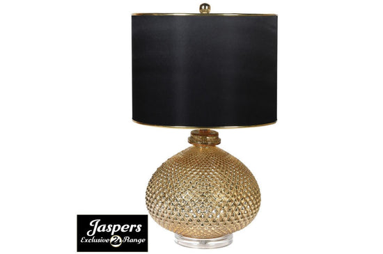 Gold Textured Ball Lamp with Shade