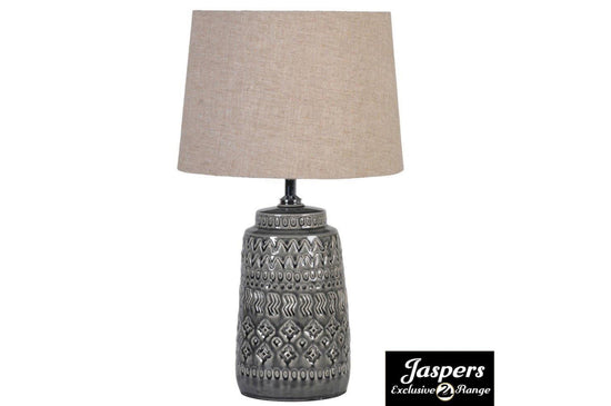Dark Grey Ceramic Lamp with Linen Shade
