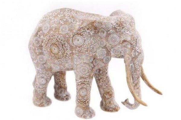 Patterned Elephant Ornament - Natural