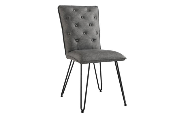 Studded Back Dining Chair With Hairpin Legs - Grey