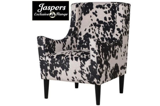 Faux Cow Hide Armchair - Black
