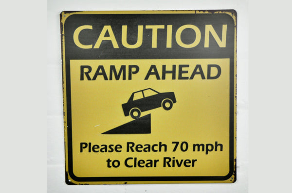Caution Ramp Ahead Wall Sign - Black / Yellow