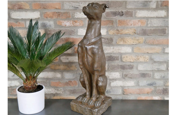 Sitting Dog Ornament - Rustic Brown