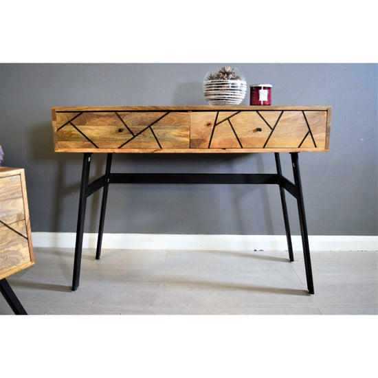 Amar Collection - Patterned 2 Drawer Console Table - Wooden / Black Legs-Livingroom Furniture-Jaspers of Hinckley Ltd.