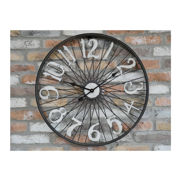 Bicycle Wheel Open Face Clock - Black / White-Chair-Jaspers of Hinckley Ltd.