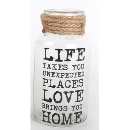 Glass Slogan Rope Jar Vase-Chair-Jaspers of Hinckley Ltd.