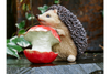 Hedgehog & Apple Ornament - Beige / Brown / Red-Chair-Jaspers of Hinckley Ltd.