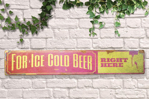 'Ice Cold' Beer Wall Sign
