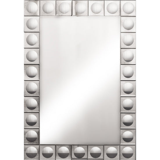 Roselyn Silver Mirror - Squares / Circle Pattern-Bedroom Furniture-Jaspers of Hinckley Ltd.