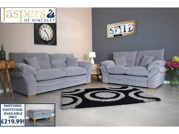 SET - Chloe 3 Seater Sofa & 2 Seater Sofa - Logan Silver / Oak Feet-Corner Sofa-Jaspers of Hinckley Ltd.