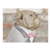 Sitting Bulldog Statue - Resin - Grey Suit & Bow Tie-Chair-Jaspers of Hinckley Ltd.