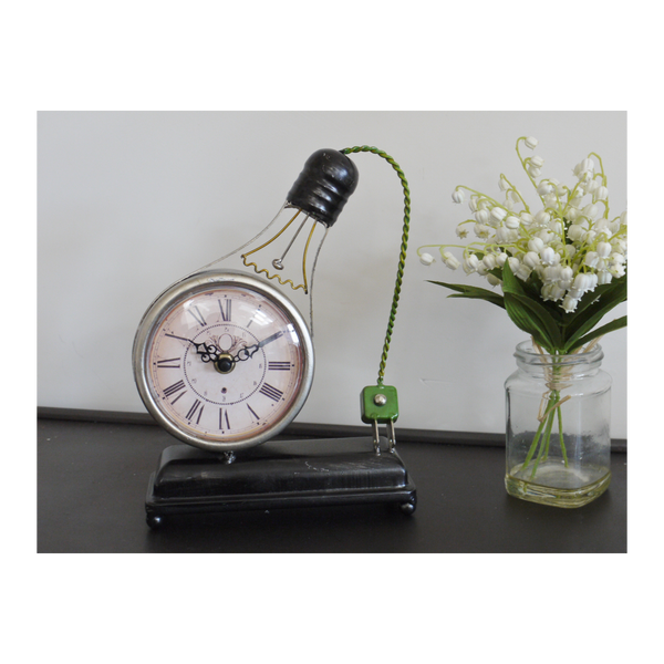 Small Light Bulb Modern Art Clock - Black / White / Green-Chair-Jaspers of Hinckley Ltd.