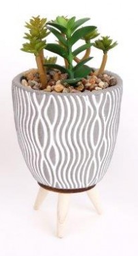 Succulent Pot with Legs - Grey / Pattern-Chair-Jaspers of Hinckley Ltd.