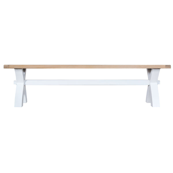 Trentham Collection - Small Cross Bench - Oak - Available in White or Grey-Livingroom Furniture-Jaspers of Hinckley Ltd.