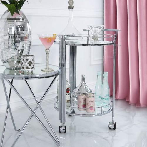 Value Cohen Clear Drinks Trolley - Silver-Chair-Jaspers of Hinckley Ltd.