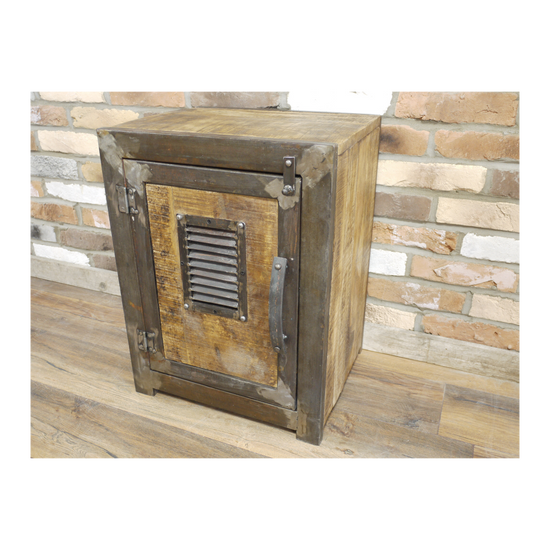Vintage Style 1 Door Cabinet - Rustic Grey Metal / Wood-Livingroom Furniture-Jaspers of Hinckley Ltd.