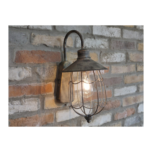 Vintage Style Wall Mounted Lantern - Rustic Metal / Caged-Chair-Jaspers of Hinckley Ltd.